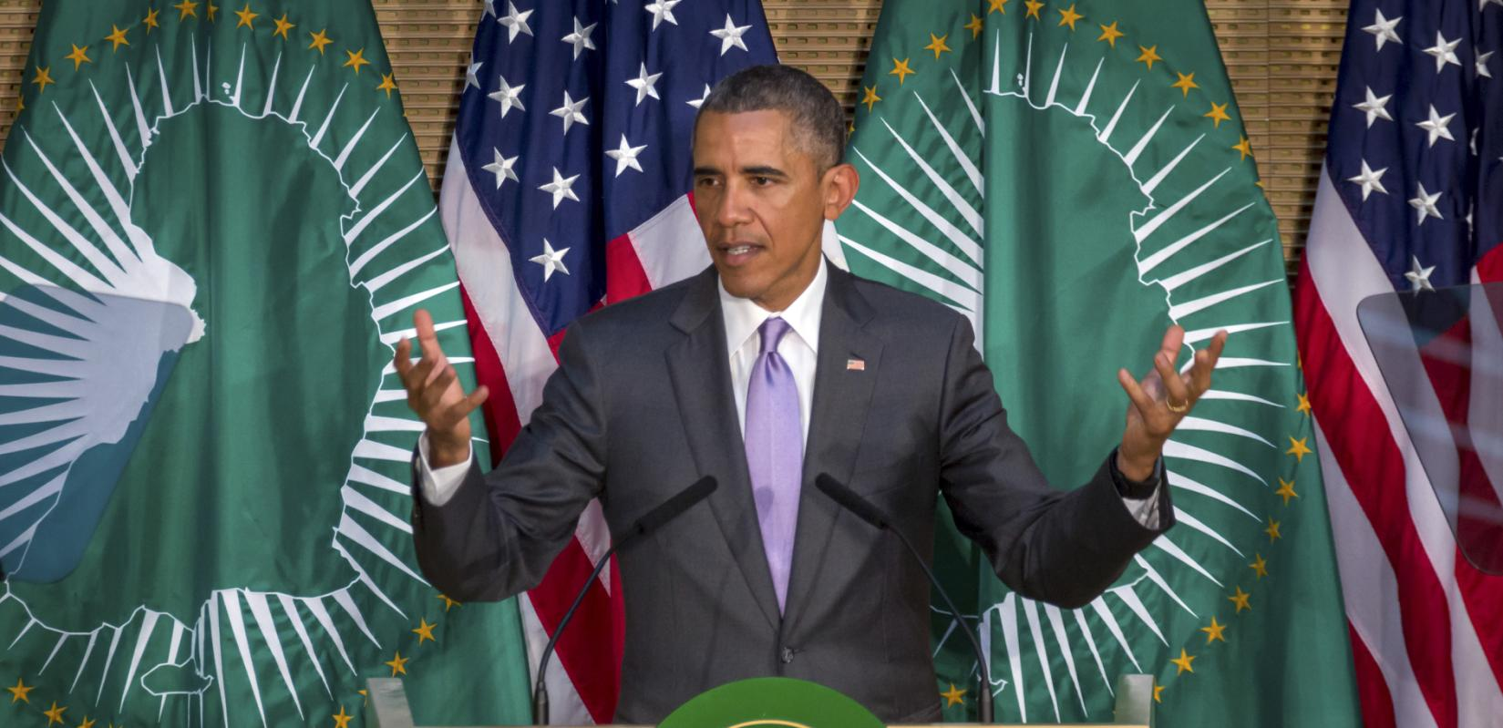 President Barack Obama delivers a speech to the African Union in Addis Ababa, Ethiopia Tuesday, July 28, 2015. Closing a historic visit to Africa, President Barack Obama on Tuesday urged the continent's leaders to prioritize creating jobs and opportunity for the next generation of young people or risk sacrificing future economic potential to further instability and disorder. (AP Photo/Mulugeta Ayene)